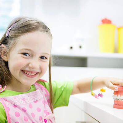 A female pediatric dentistry patient smiles and holds a model of teeth